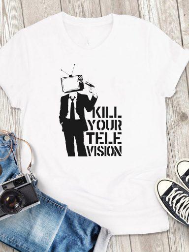 T-shirt męski biały Kill your TV Love&Live