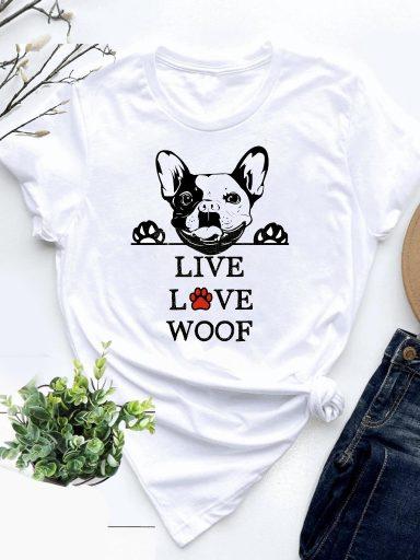 T-shirt biały Live, Love, Woof-2 Love&Live