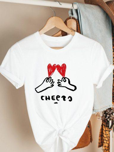 T-shirt biały Our hearts Katarina Ivanenko