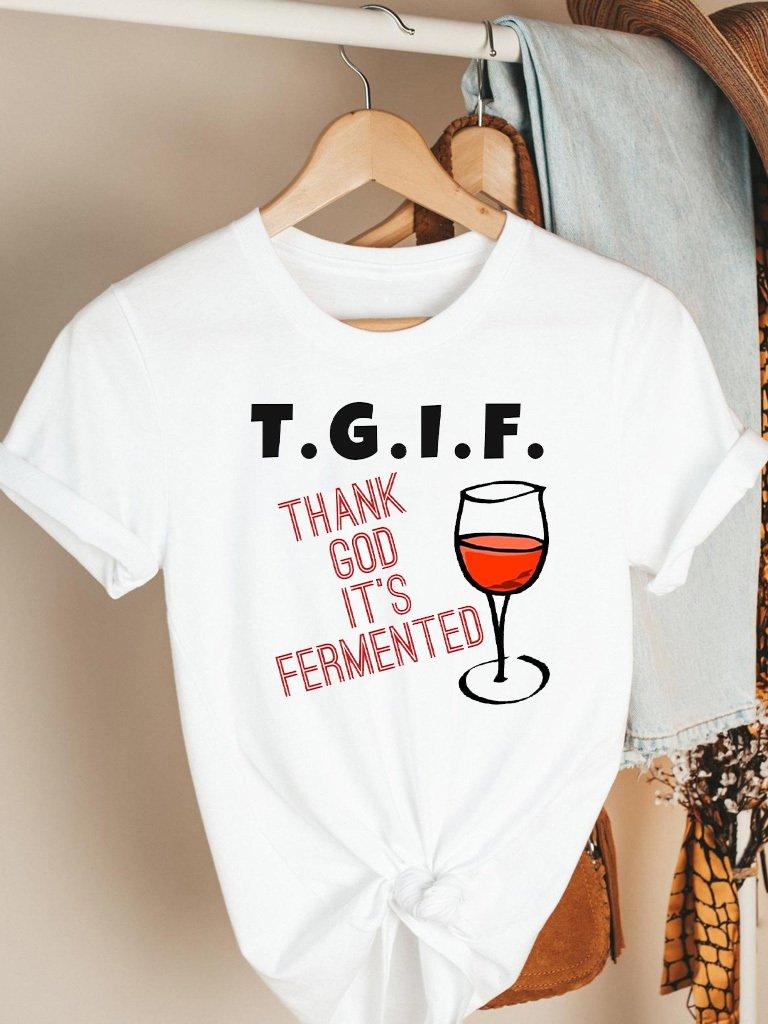 T-shirt biały T.G.I.F. Katarina Ivanenko