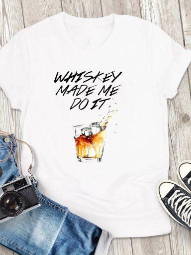 T-shirt męski biały Whiskey Love&Live