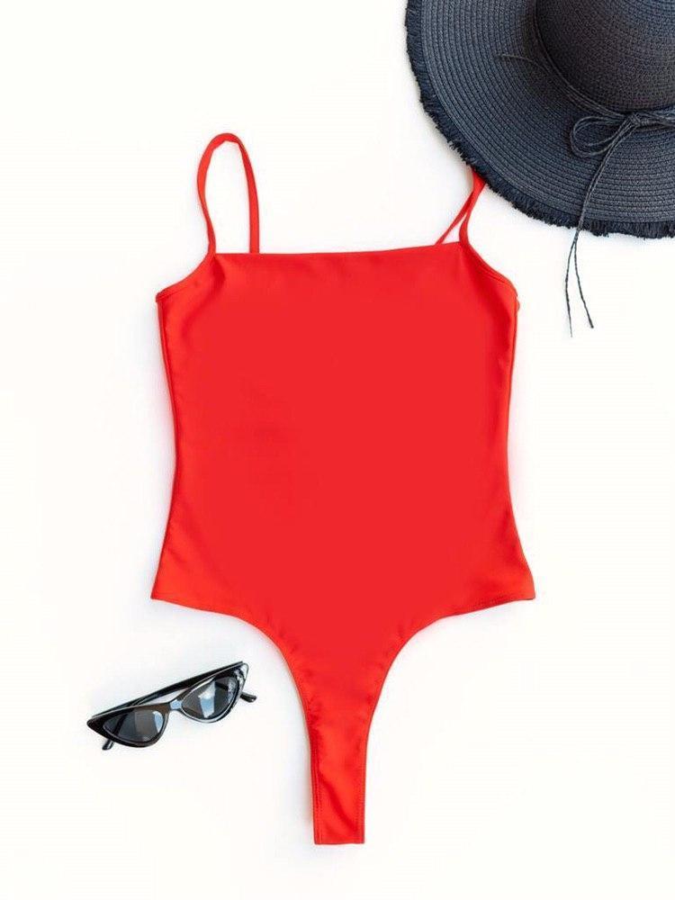 Body strój kąpielowy czerwony na cienkich ramiączkach PURE (zdjęcie 4)
