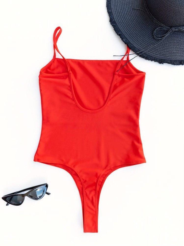 Body strój kąpielowy czerwony na cienkich ramiączkach PURE (zdjęcie 5)