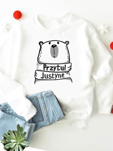 Bluza w kolorze białym Przytul Justynę Love&Live
