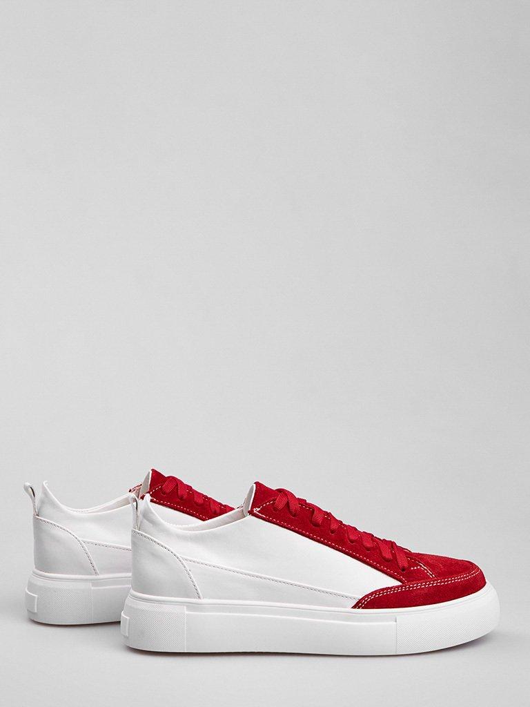 Białe skórzane buty sportowe z czerwonymi zamszowymi detalami Love&Live (zdjęcie 3)