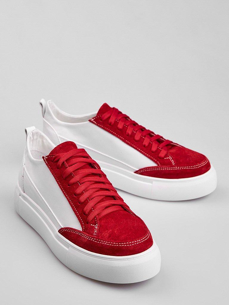 Białe skórzane buty sportowe z czerwonymi zamszowymi detalami Love&Live (zdjęcie 4)
