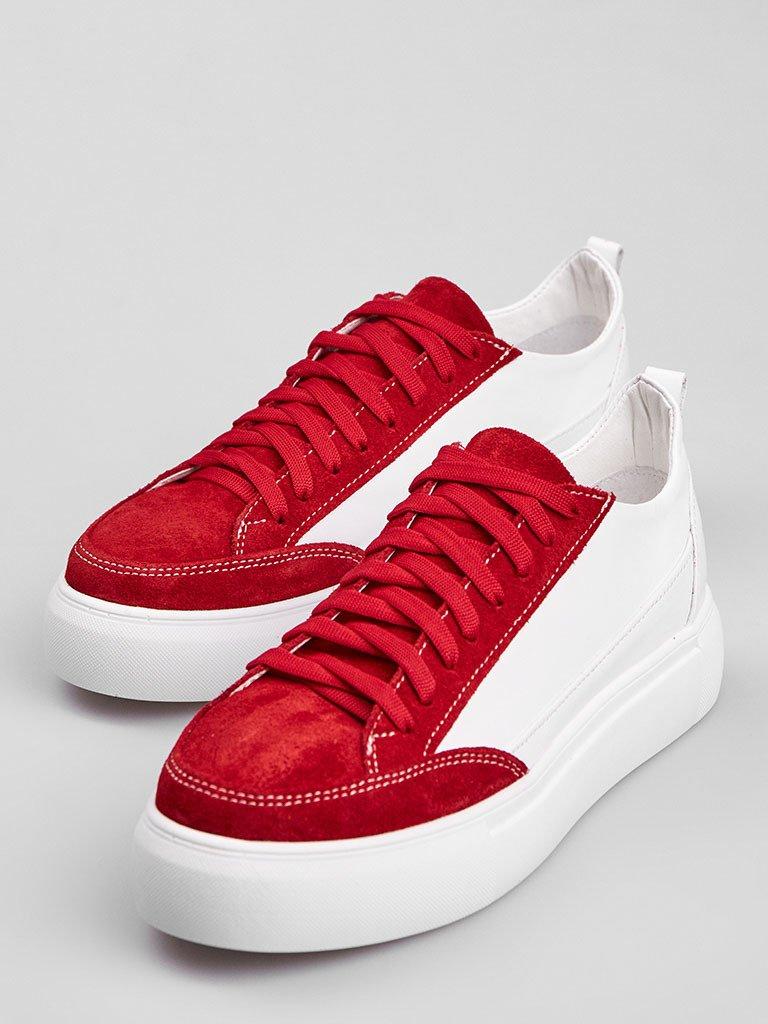 Białe skórzane buty sportowe z czerwonymi zamszowymi detalami Love&Live