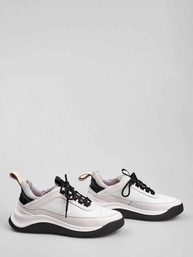 Buty sportowe ze skóry w kolorze białym z ozdobnymi szwami Love&Live (zdjęcie 2)