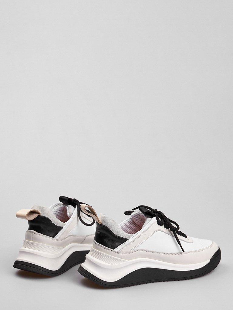 Buty sportowe ze skóry w kolorze białym z ozdobnymi szwami Love&Live (zdjęcie 3)