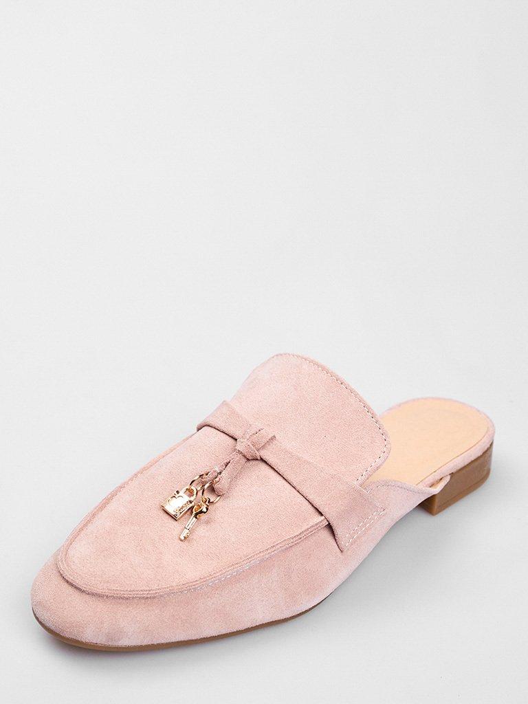 Zamszowe klapki typu mules w kolorze różowym Love&Live
