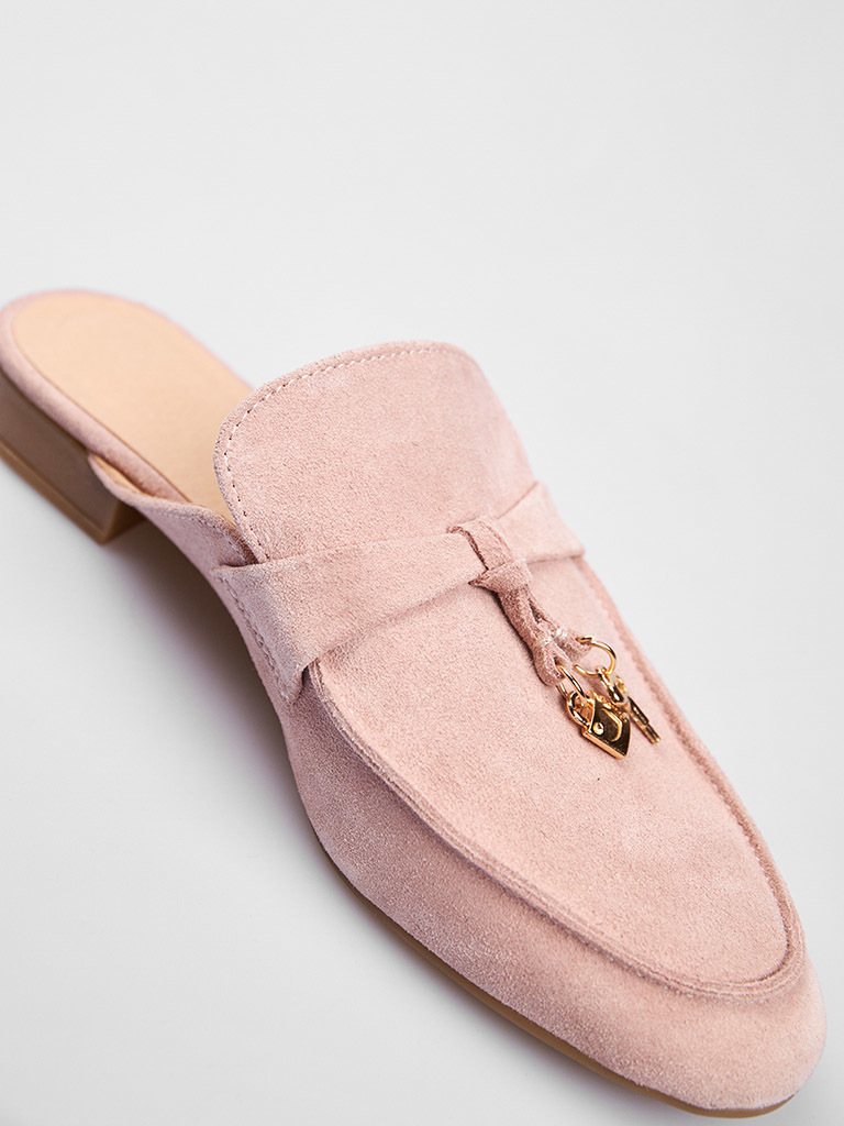 Zamszowe klapki typu mules w kolorze różowym Love&Live (zdjęcie 4)