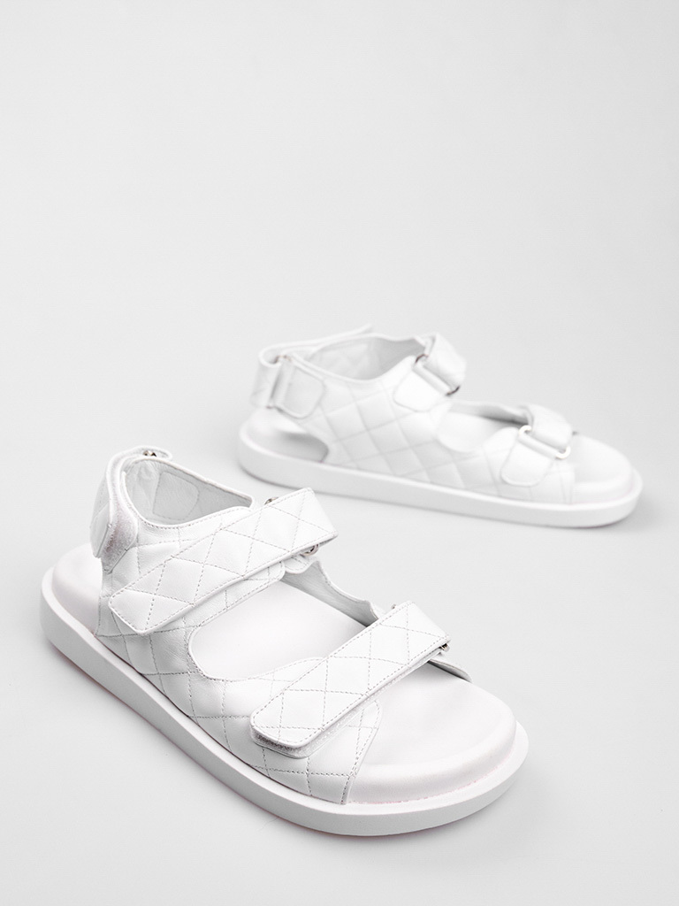 Białe skórzane sandały zapinane na rzep Katarina Ivanenko