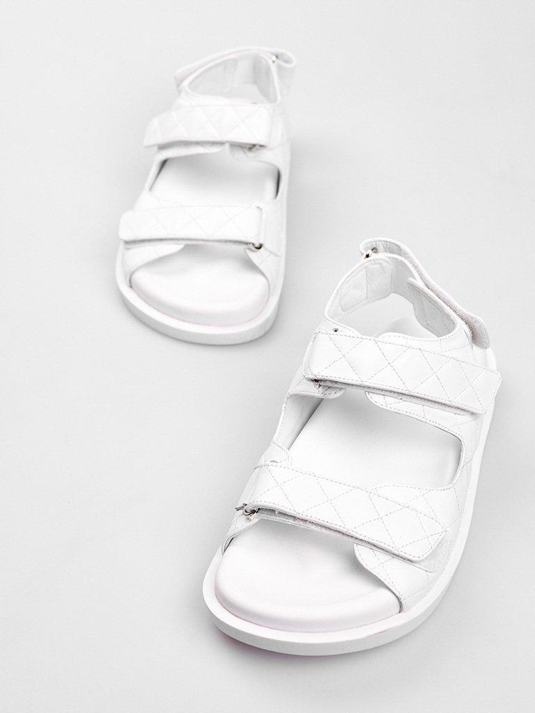 Białe skórzane sandały zapinane na rzep Katarina Ivanenko (zdjęcie 2)