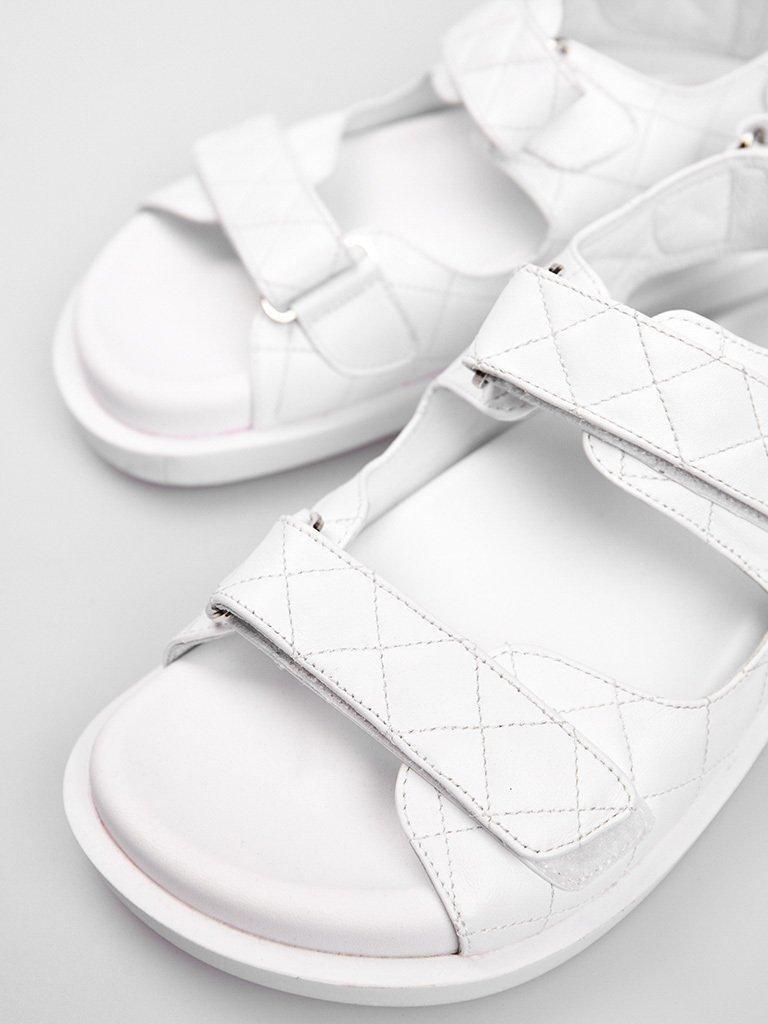 Białe skórzane sandały zapinane na rzep Katarina Ivanenko (zdjęcie 4)