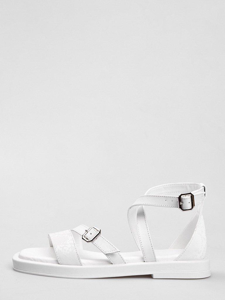 Białe skórzane sandały z paskami Love&Live (zdjęcie 2)