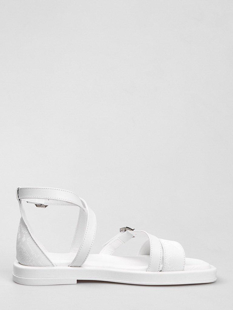Białe skórzane sandały z paskami Love&Live (zdjęcie 3)