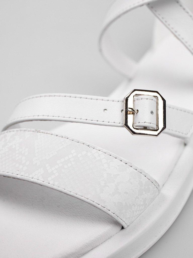 Białe skórzane sandały z paskami Love&Live (zdjęcie 4)