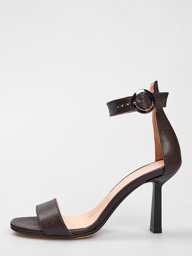 Czarne skórzane sandały z paskiem wokół kostki Love&Live (zdjęcie 2)