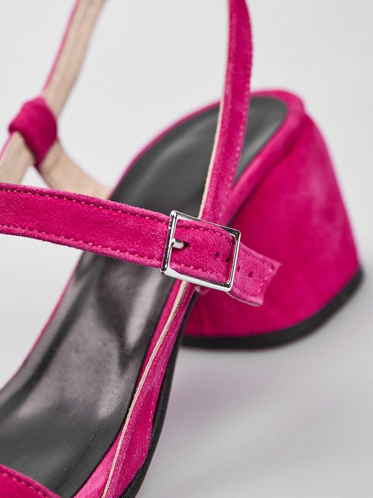 Malinowe zamszowe sandały z paskami na średnim obcasie Katarina Ivanenko (zdjęcie 4)
