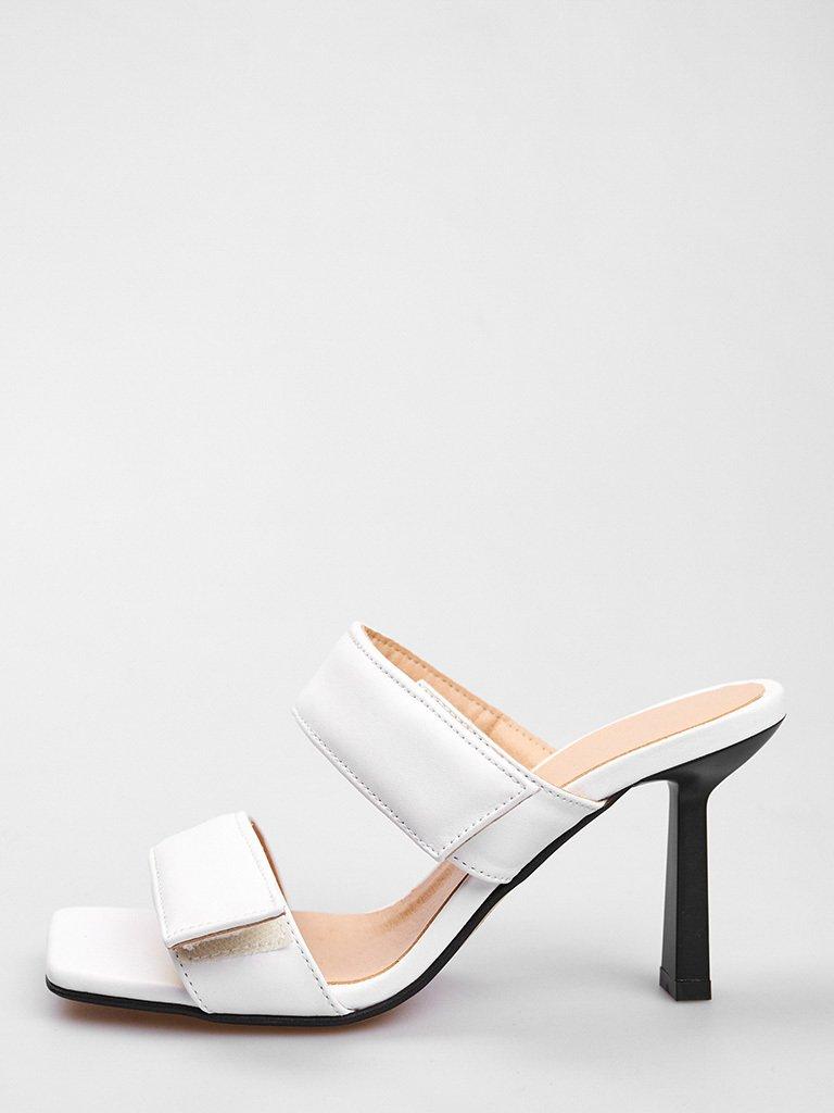 Białe skórzane sandały na obcasie zapinane na rzepy Love&Live (zdjęcie 2)