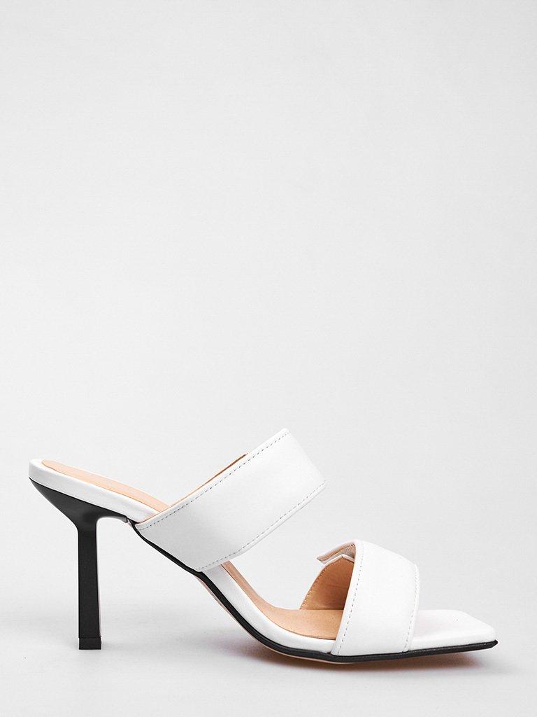 Białe skórzane sandały na obcasie zapinane na rzepy Love&Live (zdjęcie 3)