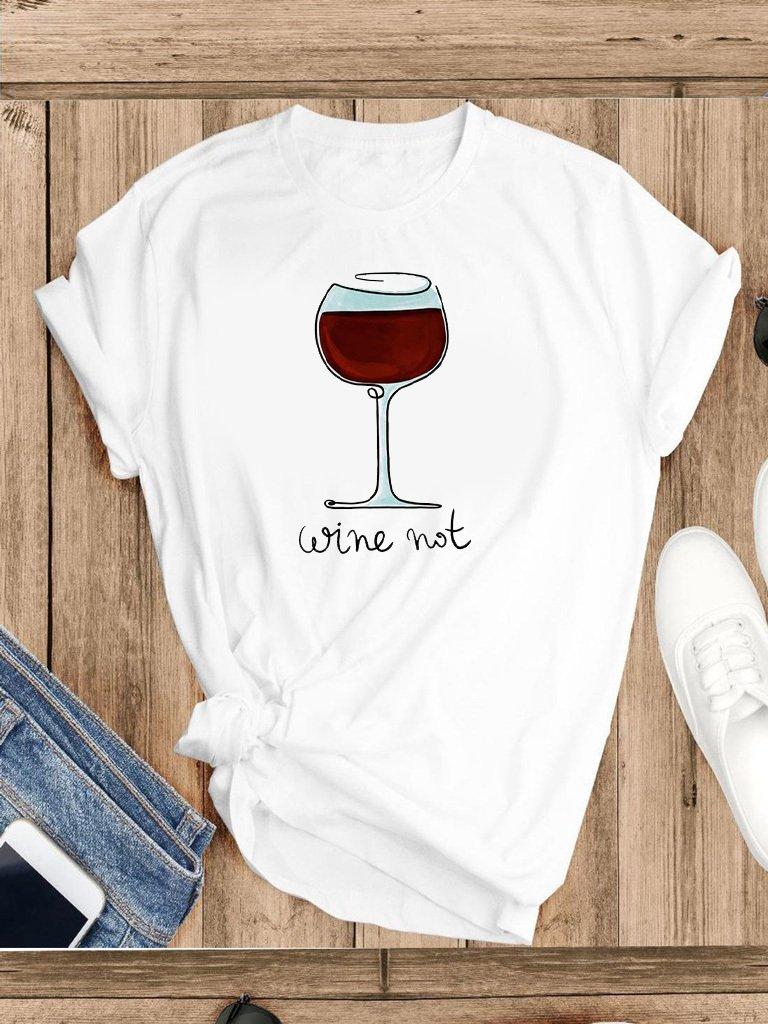 T-shirt biały Wine Katarina Ivanenko