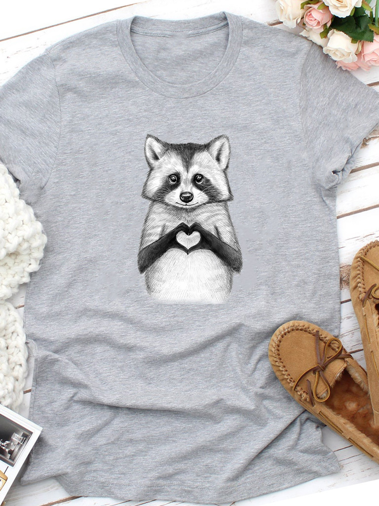 T-shirt szary Raccoon loves you Love&Live