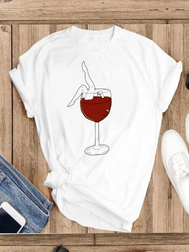 T-shirt biały Kąpię się w winie (big) Katarina Ivanenko