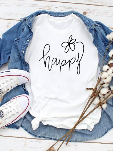 T-shirt biały Happy Love&Live