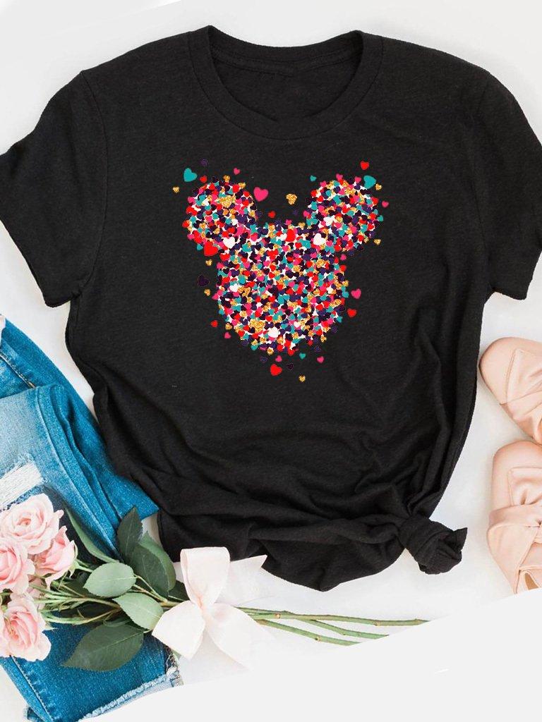 T-shirt czarny Kawałki Minnie miłości Love&Live