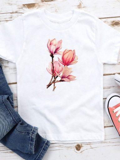 T-shirt biały dla dzieci Bukiet magnolii Love&Live