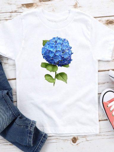 T-shirt biały dla dzieci Hortensja-2 Love&Live