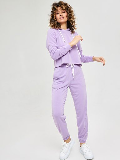 Fioletowe spodnie dresowe Love&Live