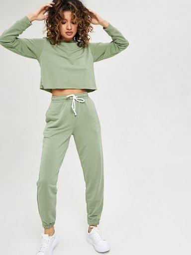 Oliwkowe spodnie dresowe Love&Live