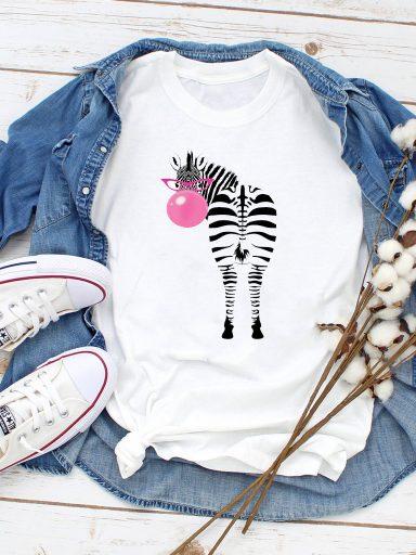 T-shirt biały Bubble-zebra Love&Live