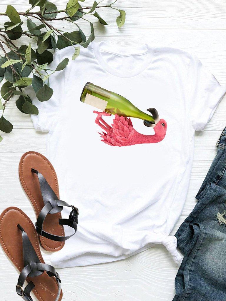 T-shirt biały Flamingino ZUZU