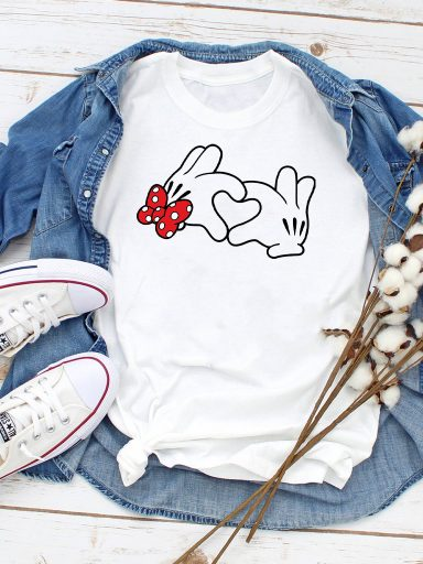 T-shirt biały Heart mouse Love&Live