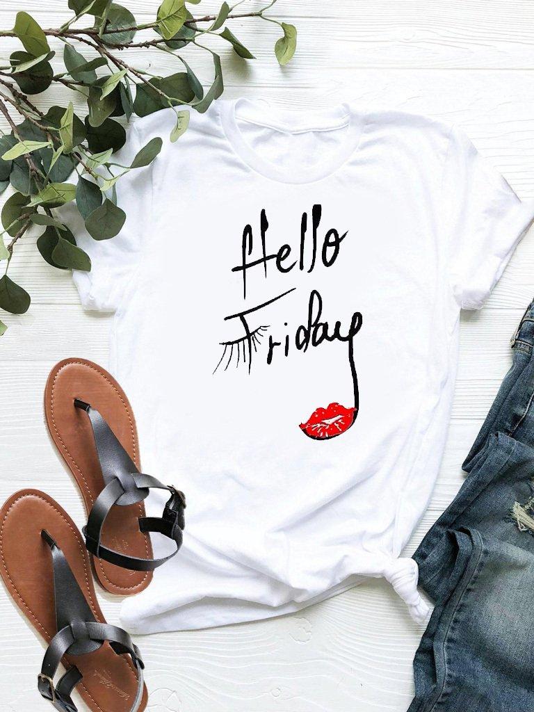T-shirt biały Hello Friday-2 ZUZU