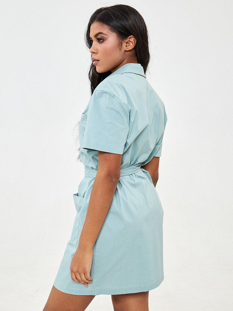 Sukienka mini koszulowa w kolorze miętowym Love&Live