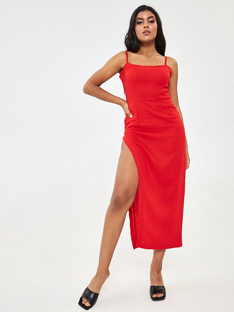 Sukienka maxi lniana czerwona z rozcięciem Katarina Ivanenko