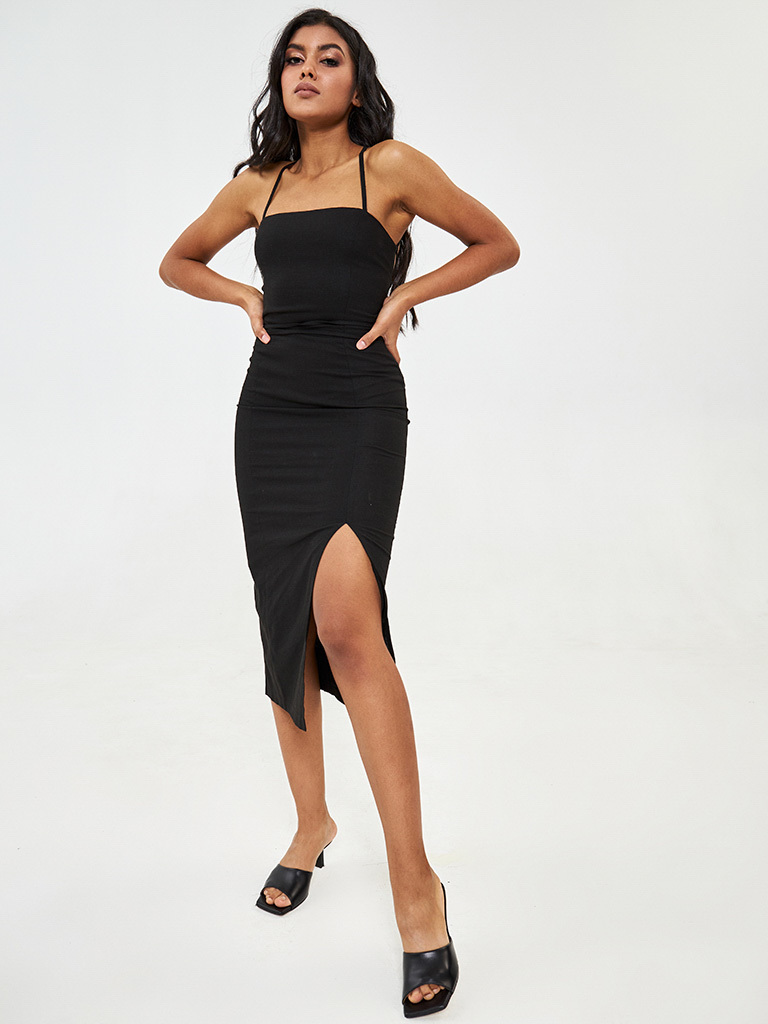 Lniana sukienka midi w kolorze czarnym Katarina Ivanenko