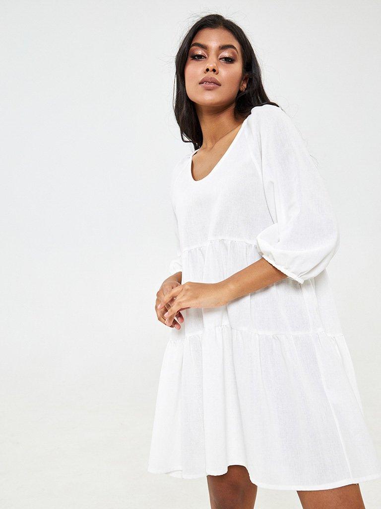 Zwiewna sukienka mini w kolorze mlecznym Love&Live