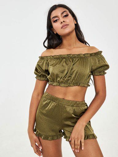 Szorty od piżamy jedwabne w kolorze khaki w drobne grochy Love&Live