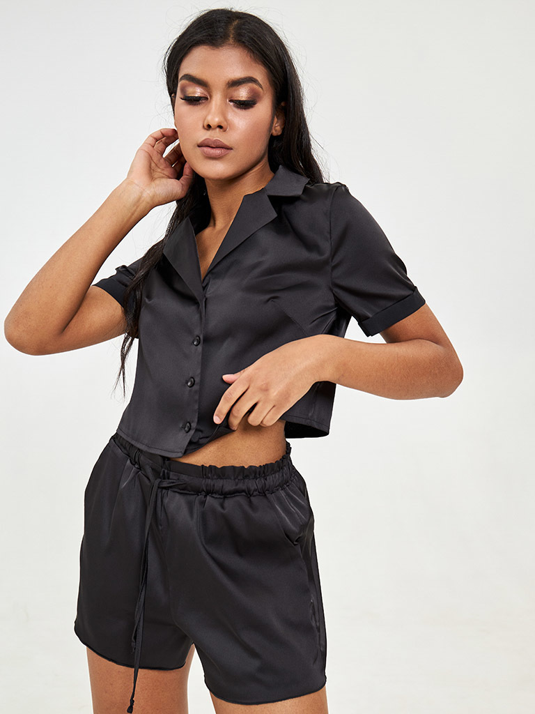 Czarna jedwabna piżama (krótka koszula, szorty) Katarina Ivanenko