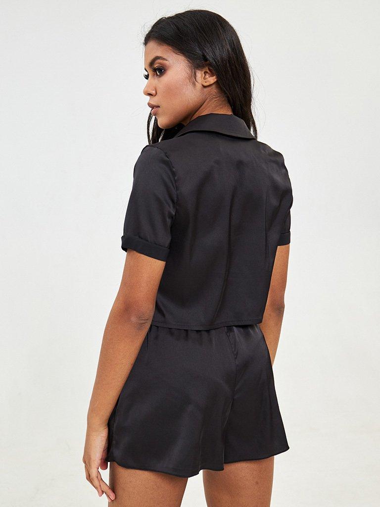Czarne jedwabne szorty od piżamy Katarina Ivanenko