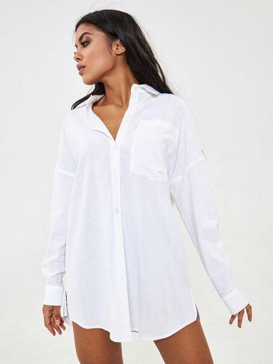 Lniana koszula oversize w kolorze białym Katarina Ivanenko