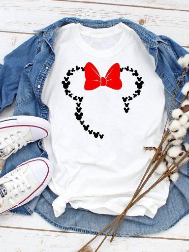 T-shirt biały Many mini Minnie Love&Live