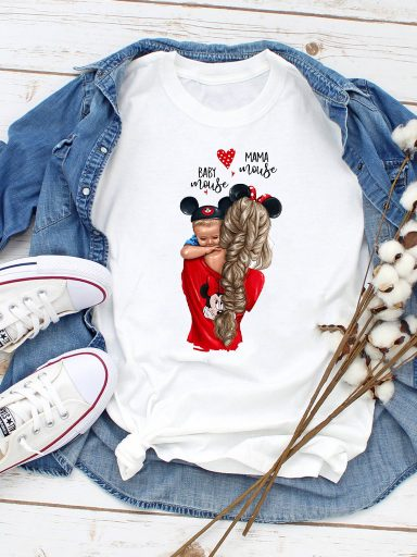 T-shirt biały Mom and baby mouse Love&Live