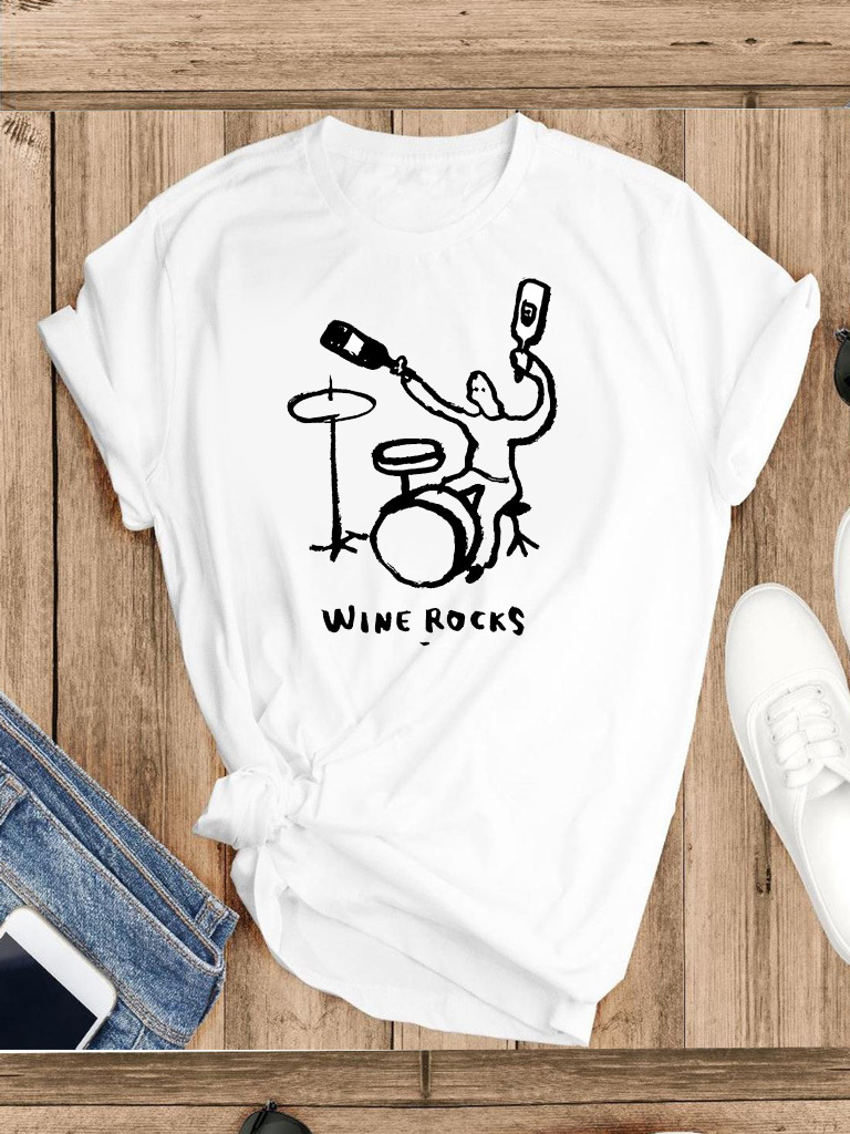 T-shirt biały Wine rocks Katarina Ivanenko