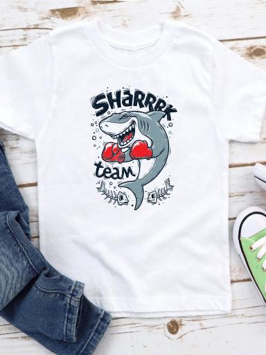 T-shirt biały dla dzieci Sharrrk team Love&Live
